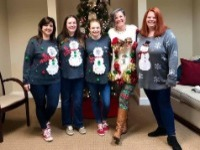 Legacy girls in our ugly Christmas sweaters